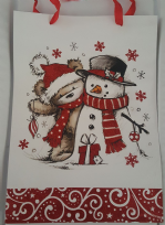 Large Teddy Bear & Snowman Christmas Gift Bag